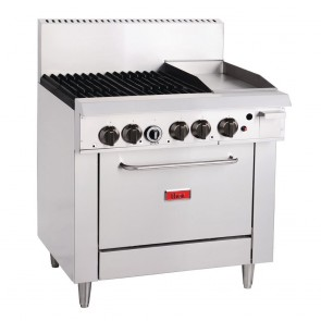 """GH102-N Thor 4 Burner Oven with 12"""" Griddle with Flame Failure - Natural Gas"""