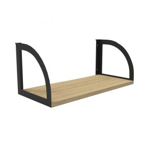 Oak Workstation Shelf Black Bracket