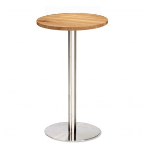 Jaquelina Wood Oak Dry Bar Table Stainless Steel Base