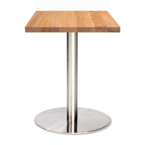 Jaquelina Oak Table Stainless Steel Base