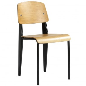 Jean Prouvé Standard Chair Replica Black Frame Oak Seat