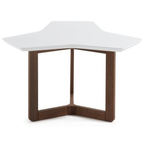 Karenlene Coffee Table White Top Walnut Wood Legs 76cm