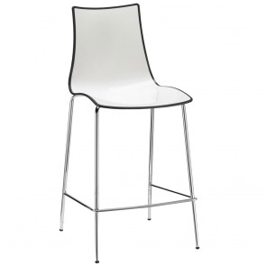 Letta Modern Bar Modern Stool with Chrome Legs and Backrest