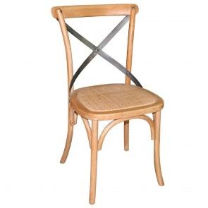 French Provincial Cross Back Dining Chair with Rattan Seat