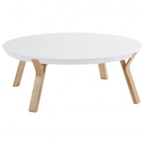 Lucina White Coffee Table Ash Timber Legs
