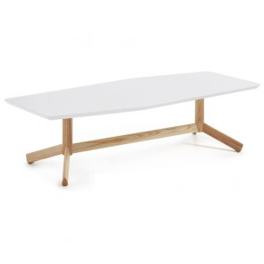 Madeleine White Coffee Table Ash Timber Legs