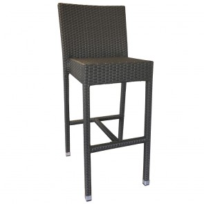 Mia Rattan Wicker Outdoor Bar Stool with Backrest