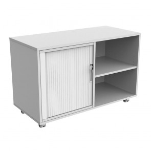 Mobile Caddy with Bookcase and Tambour Insert