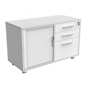 Mobile Caddy with Drawers, Filing Drawer and Tambour Insert