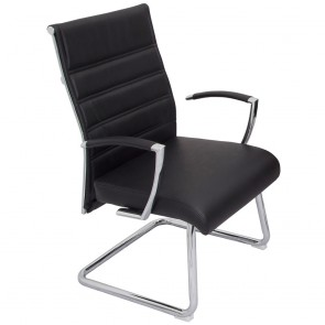 Modern Visitor Chair Black Leather Cantilever