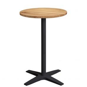 Franziska Oak Bar Table Round Solid Wood Top Charcoal Base
