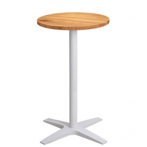 Franziska Oak Bar Table Round Solid Wood Top White Base