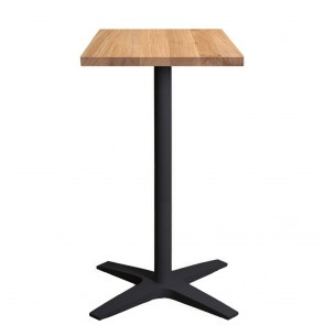 Franziska Oak Bar Table Solid Wood Top Charcoal Base