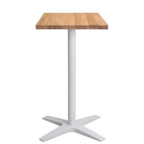 Franziska Oak Bar Table Solid Wood Top White Base