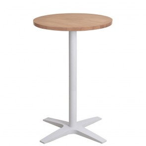 Franziska Round Bar Table Solid Wood Top White Base