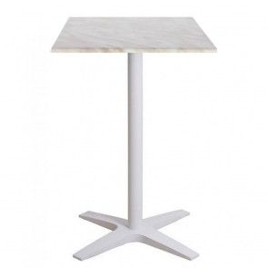 Franziska Dry Bar Outdoor Table White Cast Iron with Adjustable Feet