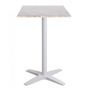 Franziska Dry Bar Outdoor Table White Cast Iron with Adjustable Feet