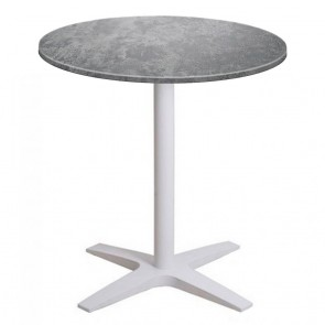 Franziska Round Outdoor Table with White Cast Iron Base