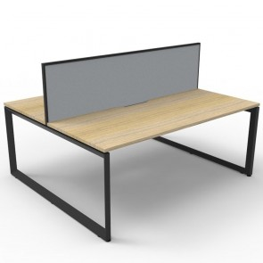 Oak 2 Person Double Sided Workstation with Screens Black Loop Legs