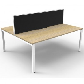 Oak 2 Person Double Sided Workstation with Screens White Legs