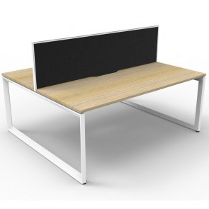 Oak 2 Person Double Sided Workstation with Screens White Loop Legs