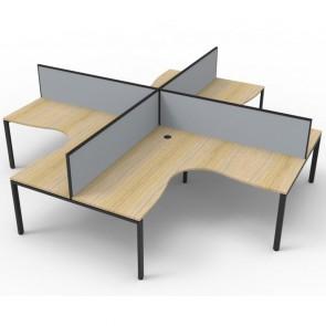 Oak 4 Person Corner Workstation with Screens Black Legs