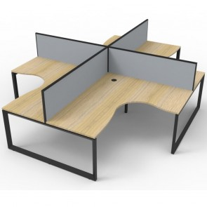 Oak 4 Person Corner Workstation with Screens Black Loop Legs