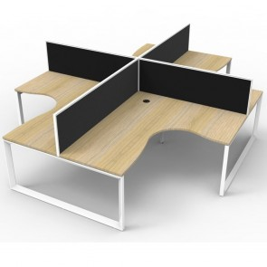 Oak 4 Person Corner Workstation with Screens White Loop Legs