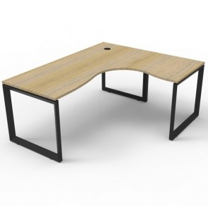 Oak Corner Workstation Black Loop Legs