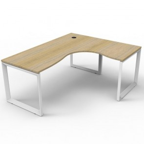 Oak Corner Workstation White Loop Legs