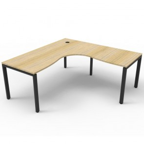 Oak Office Desk Corner Workstation Black Legs