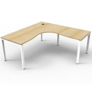 Oak Office Desk Corner Workstation White Legs