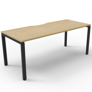Oak Office Desk Workstation Black Legs