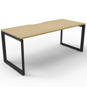 Oak Office Desk Workstation Black Loop Legs