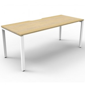 Oak Office Desk Workstation White Legs