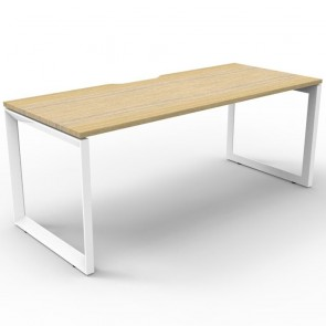 Oak Office Desk Workstation White Loop Legs