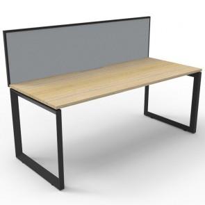 Oak Office Desk Workstation with Screen Black Loop Legs