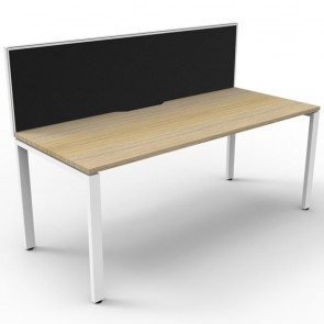 Oak Office Desk Workstation with Screen White Legs