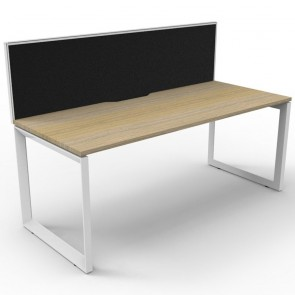 Oak Office Desk Workstation with Screen White Loop Legs