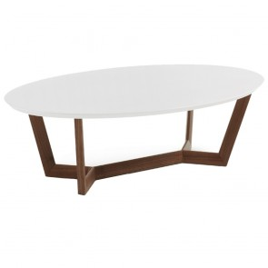 Olesine Coffee Table White Top Walnut Timber Legs