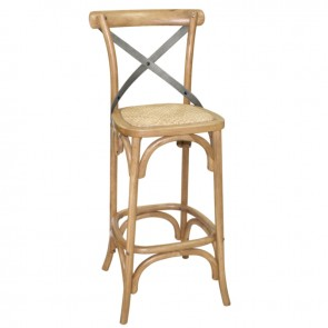 Cross Back Wooden Barstool