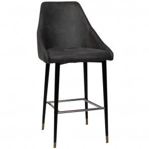 Paloma Upholstered Bar Stool Black and Brass Base