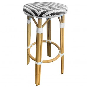 Parisian Wicker Outdoor Bar Stool Black