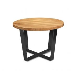 Phebe Modern Oak Timber Coffee Table Black Steel Base