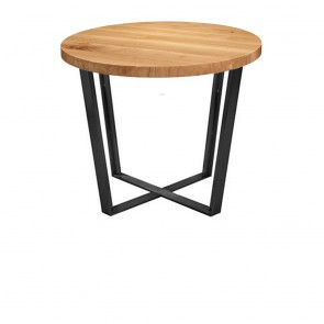 Phebe Modern Oak Timber Coffee Table Black Steel Base