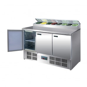 Polar 3 Door Salad and Pizza Prep Counter Stainless Steel