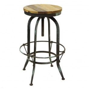 Rustic Provincial Bar Stool Vintage Steel Swivel