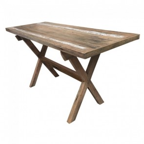 X Frame Recycled Timber Industrial Table