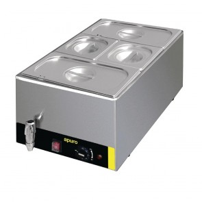 S047-A Apuro Bain Marie with Tap with Pans 2x1/3 & 2x1/6 Pans 150mm Deep Inc Lids