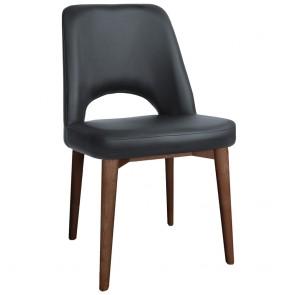 Scandi Vinyl Side Chair Walnut Wood Legs